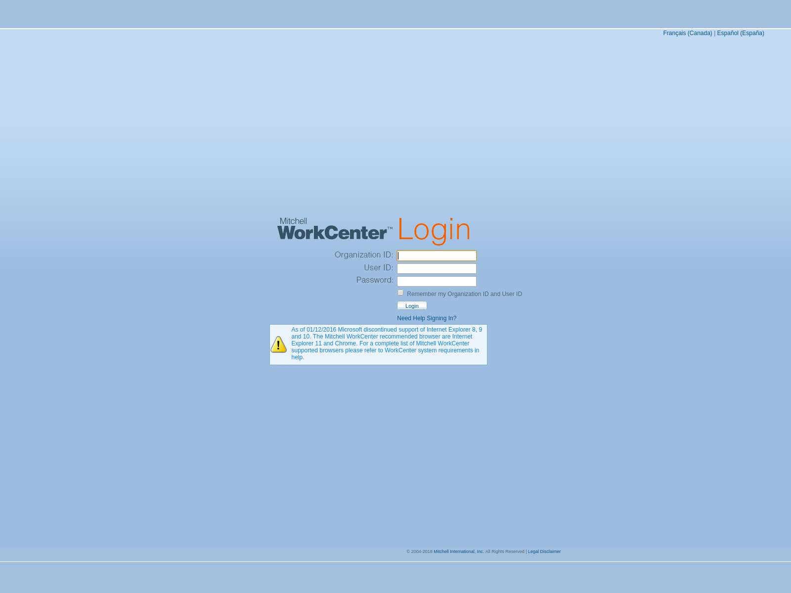 MyMitchell WorkCenter Login